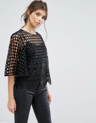 Forever Unique Cami With Grid Overlay - Black