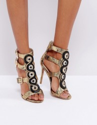 Forever Unique Cut Out Heeled Sandal with Gold Buckles - Black