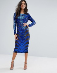 Forever Unique Embelished Long Sleeved Bodycon Dress - Blue