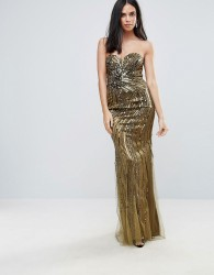 Forever Unique Embelished Sweetheart Maxi Dress - Green