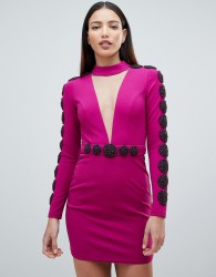 Forever Unique Embellished Mini Dress With Plunge - Purple