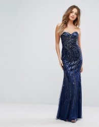 Forever Unique Embellished Sweetheart Maxi Dress - Blue