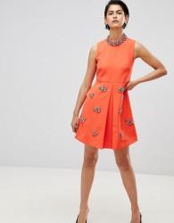 Forever Unique Embellished Swing Dress - Orange