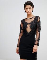 Forever Unique Embroidered Mini Dress - Black