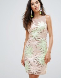 Forever Unique Floral Applique Sleeveless Shift Dress - Multi