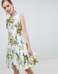 Forever Unique Floral Print High Neck Prom Dress - Multi