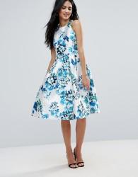 Forever Unique Floral Racer Skater Dress - Blue