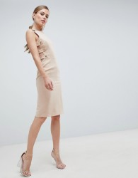 Forever Unique Formal Midi Dress With Side Detail - Beige