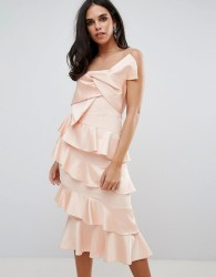 Forever Unique Frill And Bow Detail Midi Dress - Pink