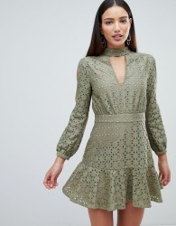 Forever Unique Keyhole Neck Dress - Green