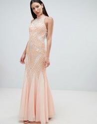 Forever Unique Lace Detail Halter Fishtail Maxi Dress - Pink