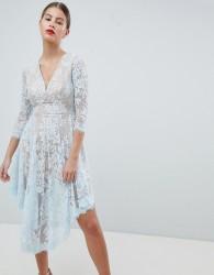 Forever Unique Lace Dipped Hem Dress - Blue