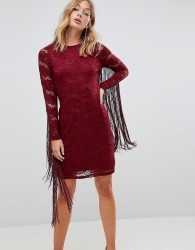 Forever Unique Lace Dress With Tassle Detail - Red