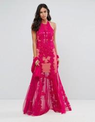 Forever Unique Lace Halter Neck Maxi Dress - Pink