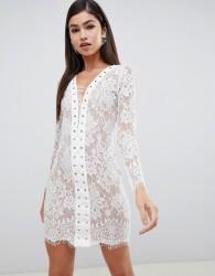 Forever Unique lace lace-up front mini dress - White