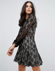 Forever Unique Lace Long Sleeve Smock Dress - Black