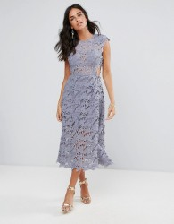 Forever Unique Lace Midi Dress - Grey
