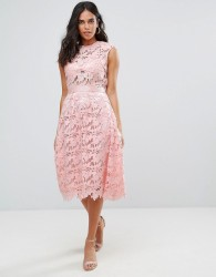 Forever Unique Lace Midi Dress - Pink