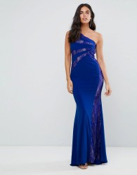 Forever Unique Lace One Shoulder Maxi Dress - Blue