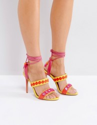 Forever Unique Lace Up Ankle Strap Zig Zag Heeled Sandal - Multi