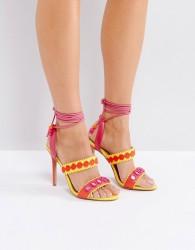 Forever Unique Lace Up Ankle Strap Zig Zag Heeled Sandal - Multi