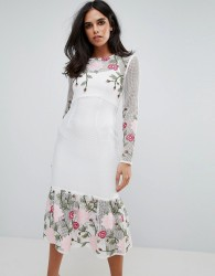 Forever Unique Long Sleeve Floral Placement Dress With Peplum - White