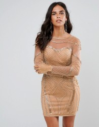 Forever Unique Long Sleeved Embellished Bodycon Dress - Gold