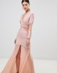 Forever Unique Maxi Dress With Sheer Panels - Pink