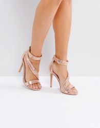 Forever Unique Metallic Cross Strap Heeled Sandal - Copper