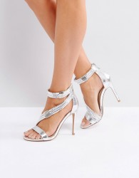 Forever Unique Metallic Cross Strap Heeled Sandal - Silver