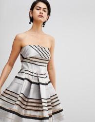 Forever Unique Mini Metallic Stripe Dress - Gold