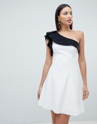 Forever Unique Mono One Shoulder Mini Dress - White