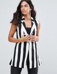 Forever Unique Mono Stripe Sleeveless Blazer - Multi