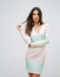 Forever Unique Ombre Panel Mini Bodycon Dress - Multi