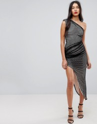 Forever Unique One Shoulder Mesh Aysmetric Dress - Black