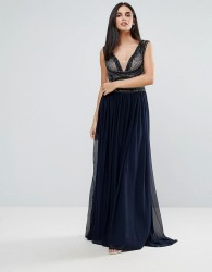 Forever Unique Pannelled Maxi Dress - Blue