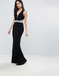 Forever Unique Plunge Maxi Dress With Cutout - Black