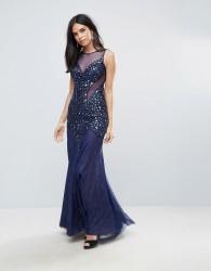 Forever Unique Plunge Maxi Dress With Mesh - Blue