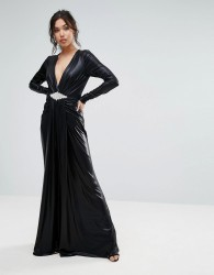 Forever Unique Plunge Maxi Dress With Waisted Detail - Black