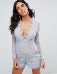 Forever Unique Plunge V Neck Lace Playsuit - Blue