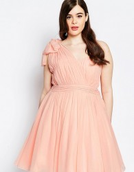 Forever Unique Plus One Shoulder Pleated Prom Dress - Pink
