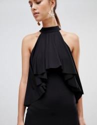 Forever Unique Ruffle Halter Neck Dress - Black
