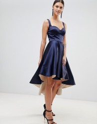 Forever Unique Satin Hi-Low Dress - Navy