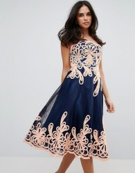 Forever Unique Strapless Midi Dress With Baroque - Black