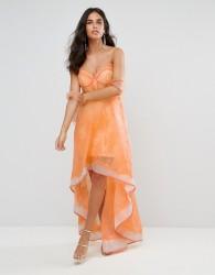 Forever Unique Structured Lace Hi Lo Dress - Orange