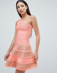 Forever Unique Structured One Shoulder Skater Dress With Lace Inserts - Pink
