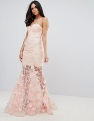 Forever Unique Sweetheart 3D Floral Maxi Dress - Pink