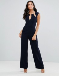 Forever Unique Tailored Jumpsuit With Cutout Detailing - Navy