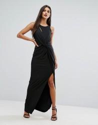 Forever Unique Wrap Thigh High Split Maxi Dress - Black