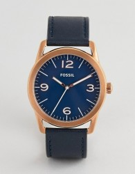 Fossil BQ2306 mens navy leather chronograph watch - Navy